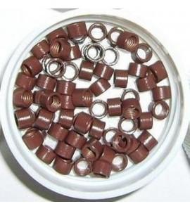Mikro inel cu silicon - Maro deschis - 4.5 mm - 100 buc