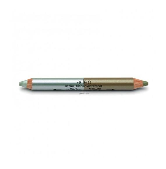 Creion dublu gros pentru ochi - verde/verde - Aden cosmetics