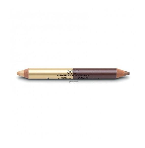 Creion dublu gros pentru ochi - auriu/maro - Aden cosmetics