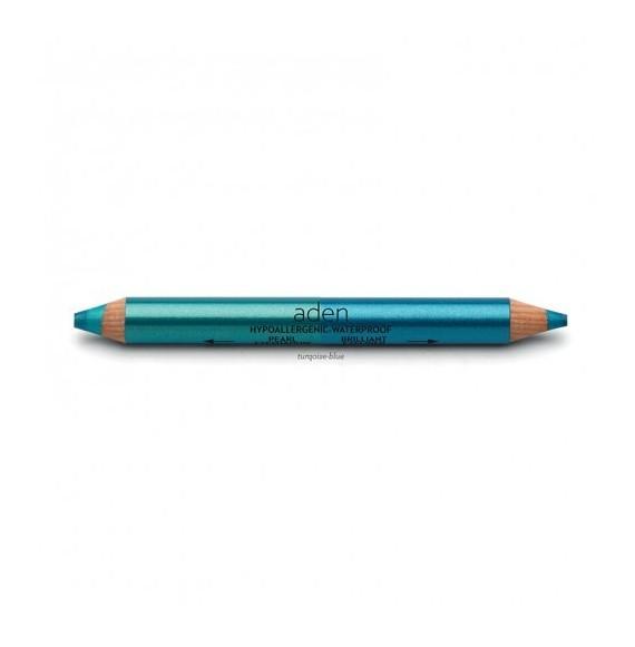 Creion dublu gros pentru ochi - turqoise/blue - Aden cosmetics